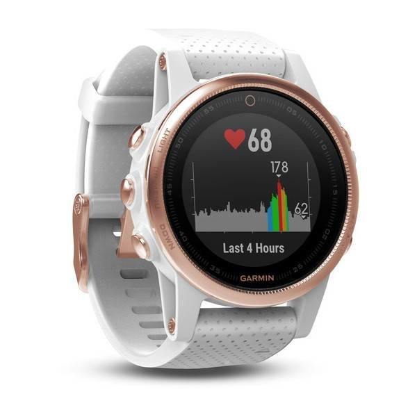 Garmin Fenix 5S Rose Goldtone Sapphire with White Band HRM Watch