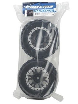 Pro LIne Badlands MX43 Pro-Loc Mounted, Impulse Black Wheels with Grey Rings (2): X-Maxx