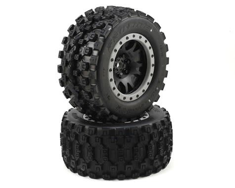Pro LIne Badlands MX43 Pro-Loc Mounted, Impulse Black Wheels with Grey Rings (2): X-Maxx