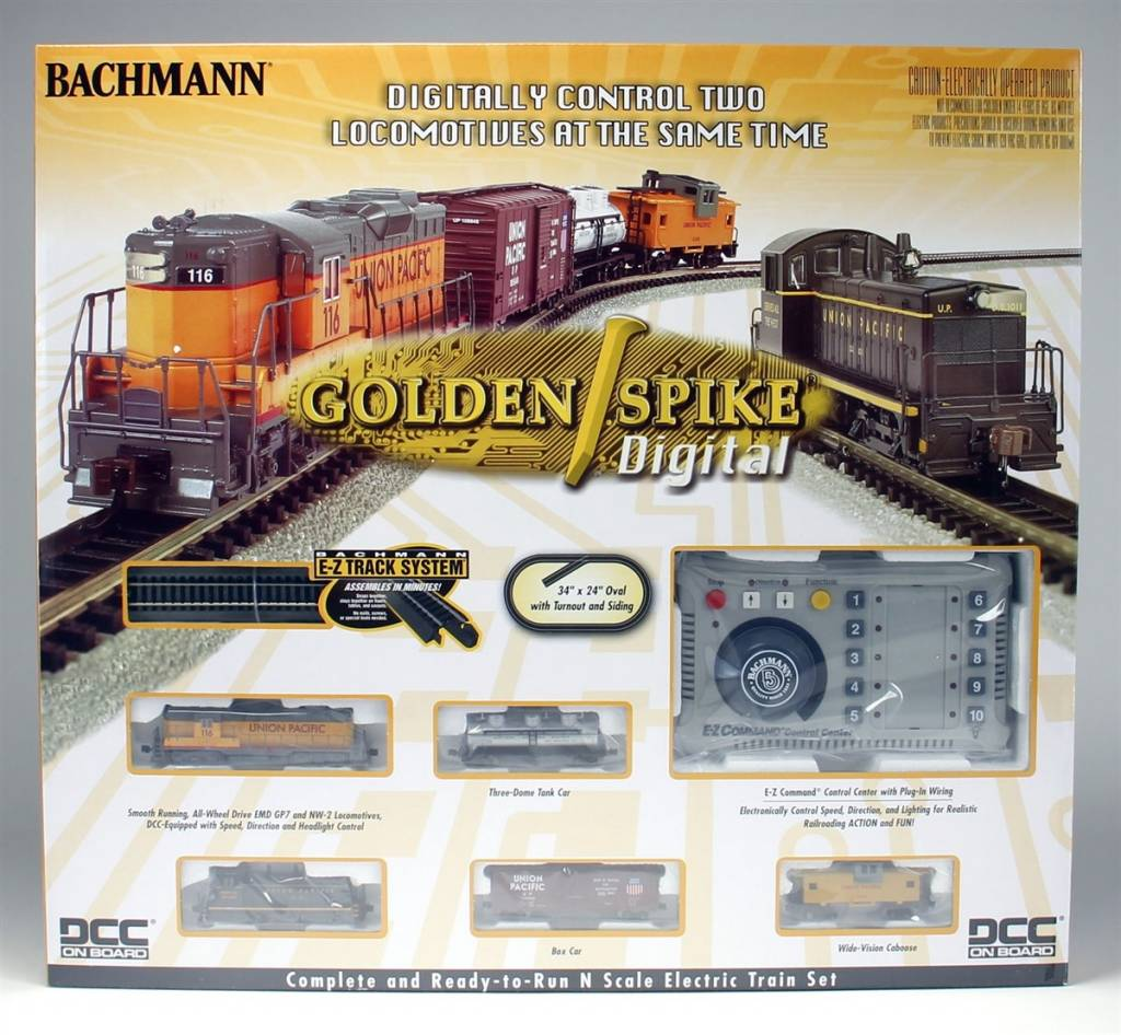 Bachman Bachmann N 24131 Golden Spike Train Set with Digital Control, Union Pacific (Includes 2 DCC Equipped Locomotives)