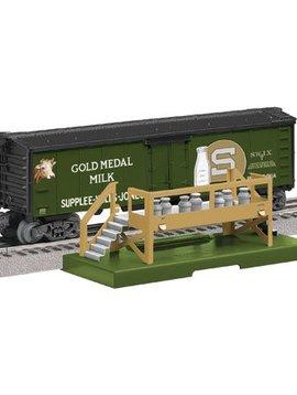 Lionel LNL683252 O Milk Car w/Platform, Gold Medal