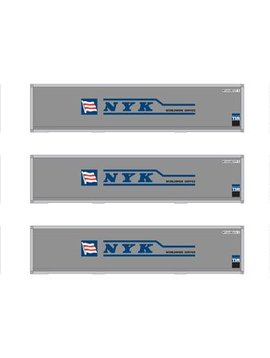 Atherns ATH12175 HO RTR 40' Smooth Containers, NYK (3)