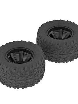 Arrma AR550014 Copperhead MT Tire/Wheel Glued Black (2)
