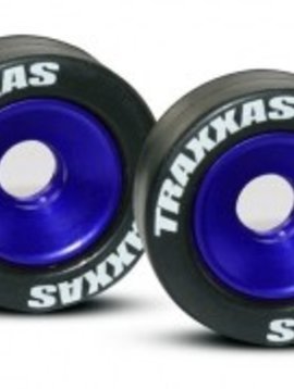 Traxxas TRA5186A Mntd Wheelie Bar Tires/Whls Blue (2)