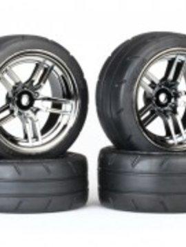 Traxxas TRA 8375 Tires & Wheels, glued  (split black chrome wheel 1.9''