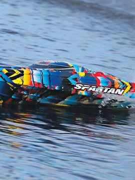 Traxxas Spartan Fully assembled, Ready-To-Race®, TQi™ 2.4GHz radio system, Traxxas Stability Management®, Velineon® 540XL Brushless Motor, VXL-6s Marine ESC, and factory-applied graphics