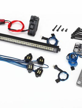 "Traxxas 8030 LED light set, complete (contains rock light kit, LED lightbar (Rigid""), LED headlight/tail light kit, power supply, and 3-in-1 wire harness) (fits #8011 body)"
