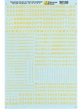 MSI MSI90106  HO Letters & Numbers, Gothic/Yellow