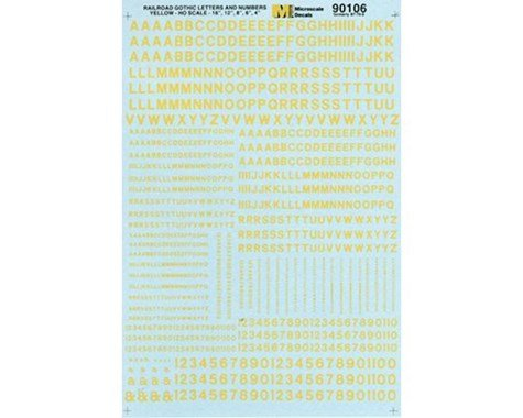 MSI MSI90106 HO Letters Numbers Gothic Yellow