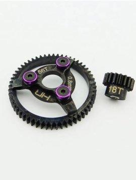 HRA Steel Pinion and Spur Gear 18t 56t 32p, Purple: Traxxas (HRASTE256)