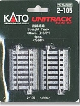"Kato KAT2105 HO 60mm 2-3/8"" Straight (4)"