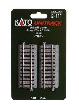 "Kato KAT2111 HO 94mm 3-11/16"" Straight (2)"