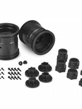 """J Concepts JCO3380B Midwest 2.2"""" MT 12mm Hex Wheel w/ Adaptors (Black) 2pc."""
