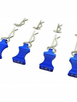 HRA 1/10 Blue Aluminum EZ Pulls (4) Body Clips (8) (HRAAC03EZ06)
