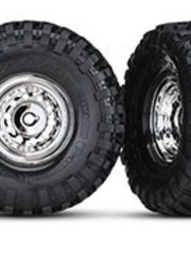 """Traxxas TRA8177  1.9"""" chrome wheels, Canyon Trail 1.9 tires (2)/ center caps (2)/ decal sheet (requires #8255A extended stub axle)"""