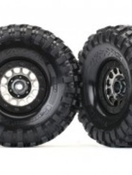 "Traxxas Method 105 black chrome beadlock wheels, Canyon Trail 1.9"" tires, foam inserts (1 Left, 1 Right)"