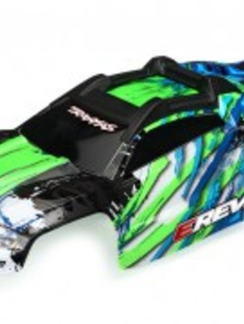 Traxxas TRA8611G  Body, E-Revo, green/ window, grill, lights decal sheet (assembled with front & rear body mounts and rear body support for clipless mounting)