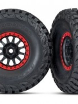 Traxxas TRA8474 UDR Tires and wheels, assembled, glued (Method Race Wheels, black with red beadlock, BFGoodrich® Baja KR3 tires) (2)