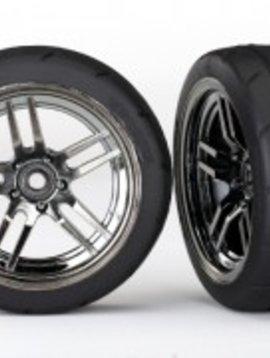 Traxxas 8373 Tires and wheels, assembled, glued (split-spoke black chrome wheels, 1.9' Response tires) (front) (2)