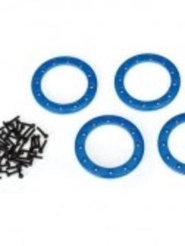 Traxxas TRA8169X - Beadlock rings, blue (1.9') (aluminum) (4)/ 2x10 CS (48)