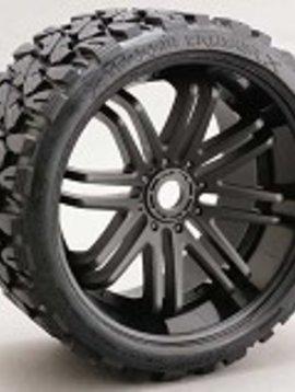SRC C0002B Terrain Crusher Belted Tire Preglued 17mm on Blk Wheel Set
