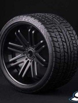 SRC C0001B Road Crusher Onroad Belted tire Black wheel 1/4 offset