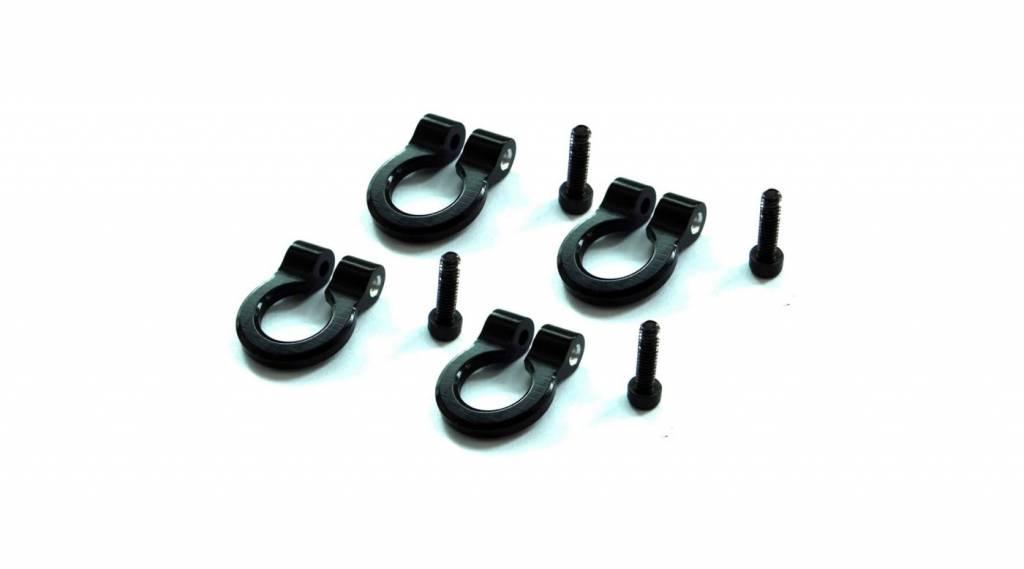 HRA ACC80801 1/10 Aluminum Black Tow Shackle D-Rings (4)