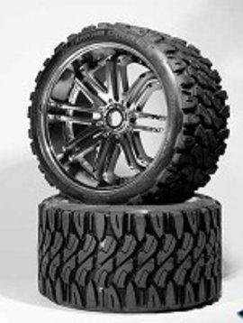 SRC Terrain Crusher Offroad Belted Tire Silver Wheel 1/4 Offset