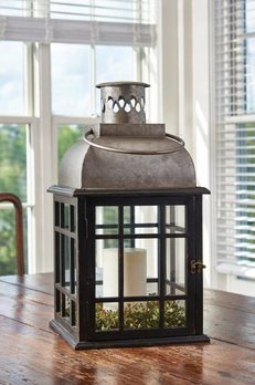 Tin Top & Glass Lantern Black
