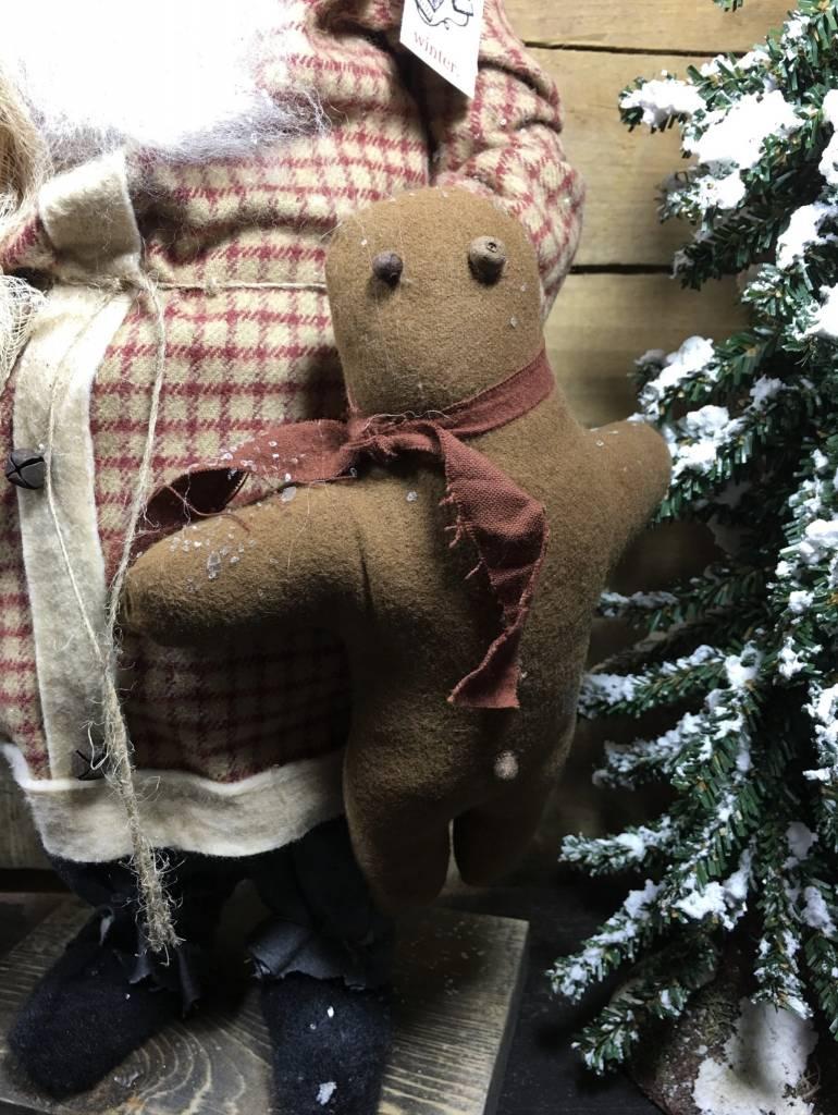 Arnett's Arnett's Santa in Red Plaid with Gingerbread JC14