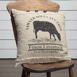 VHC Brands Sawyer Mill Cow Pillow 18x18