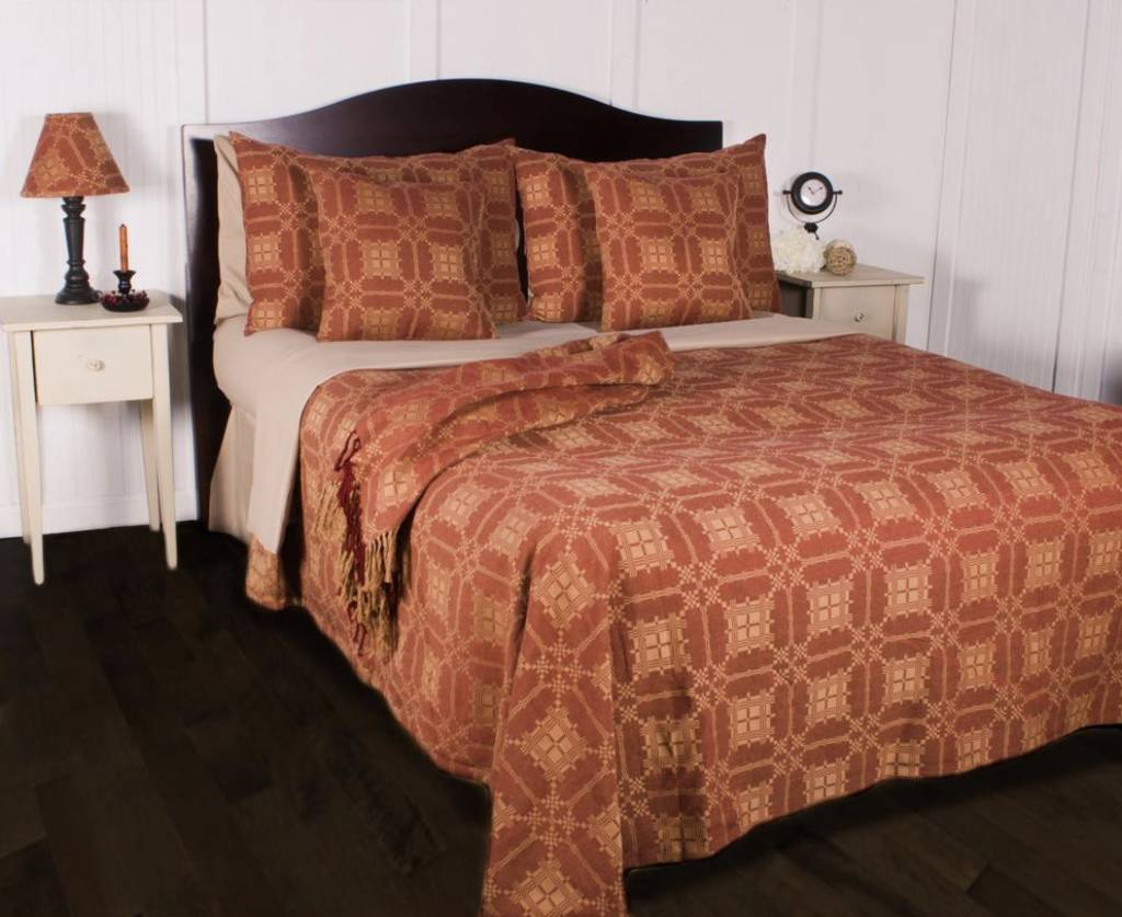 Smithfield Jacquard Queen Bed Cover Red Nana S Farmhouse
