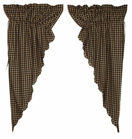 Black Check Scalloped Prairie Curtain Set of 2