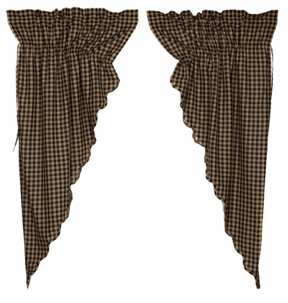 Black Check Scalloped Prairie Curtain Set of 2