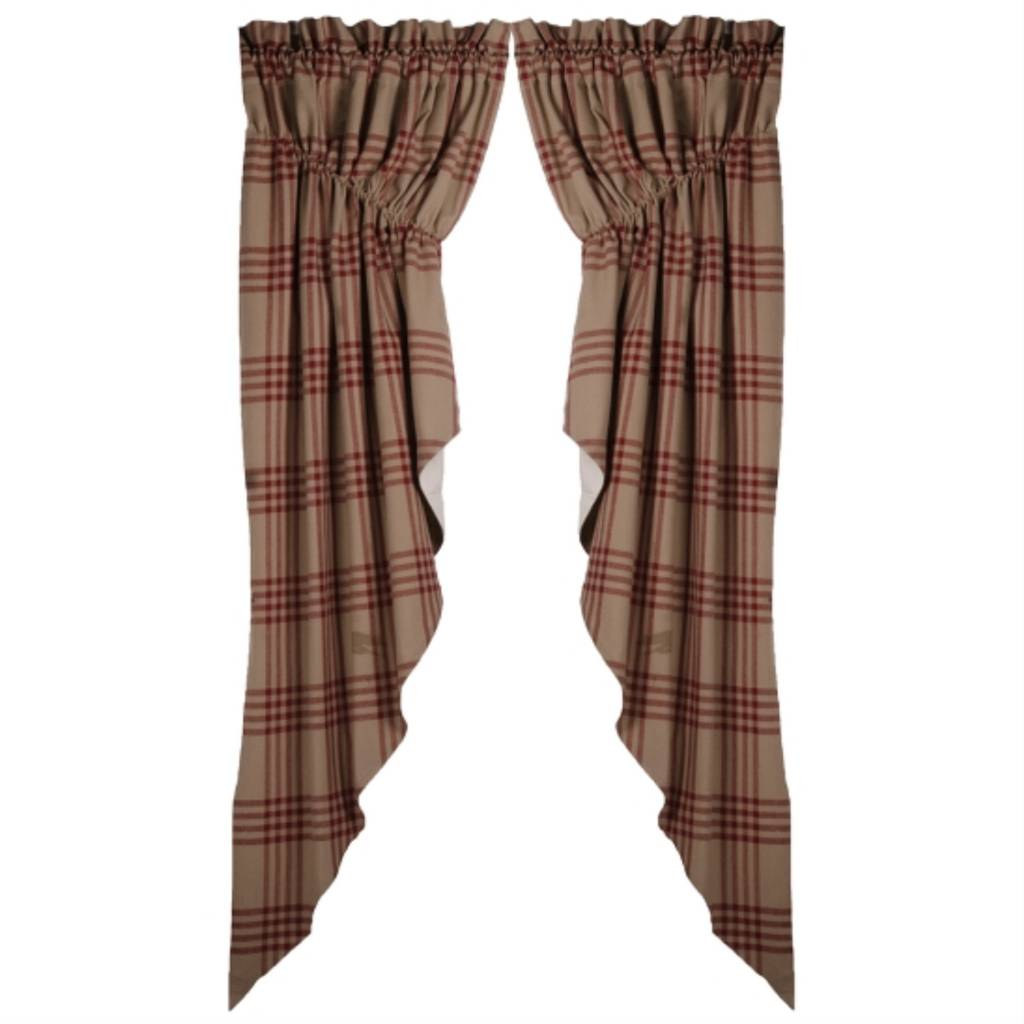 Chesterfield Check Barn Red Gathered Swag Raghu Curtains