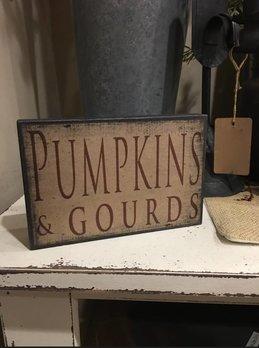 Pumpkins and Gourds Block Sign