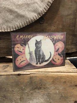 A Merry Halloween Block Sign