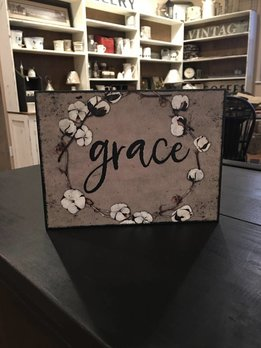 Grace Sign Kraft with Cotton Wreath
