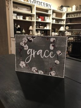 Grace Sign Gray Metal with Cotton Wreath