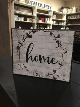 Home Sign White with Cotton Wreath