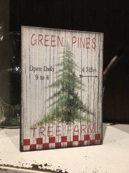 Green Pines Tree Farm Block Sign