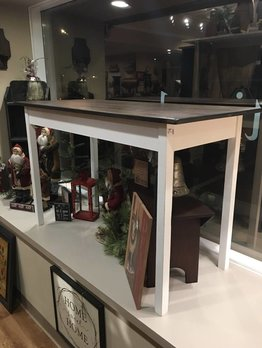 White Sofa Table with Stained Top
