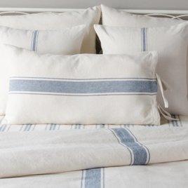 Grain Sack Stripe Lumbar Pillow Cover Colonial Blue & Cream