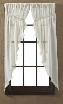 VHC Brands Tobacco Cloth Natural Prairie Curtain Fringed Set of 2 (In Store)