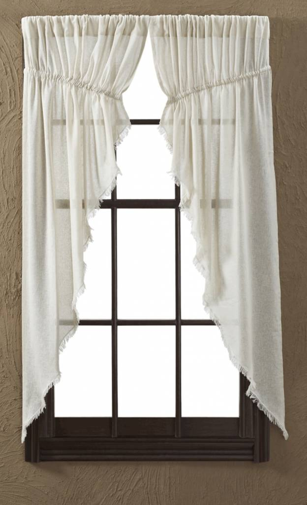 Tobacco Cloth Natural Prairie Curtain Fringed Set Of 2