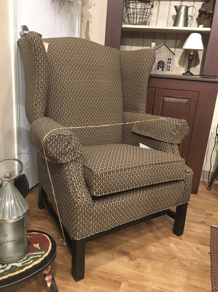 Country Wing Chair Upholstered Farmhouse Furniture