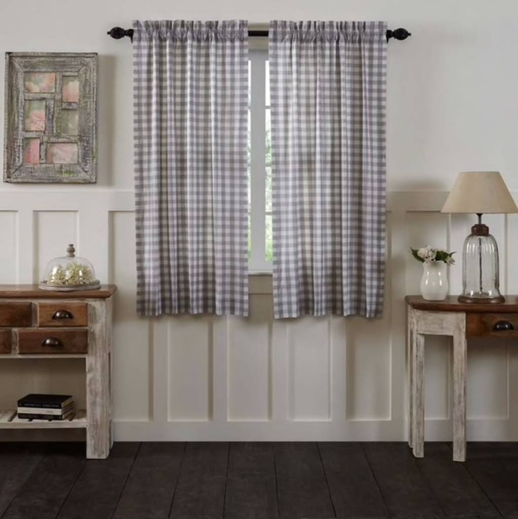 VHC Brands Annie Buffalo Check Lined Short Panel  Set of 2