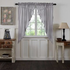 Annie Buffalo Check Lined Prairie Curtain Set of 2 Choice of 3 colors