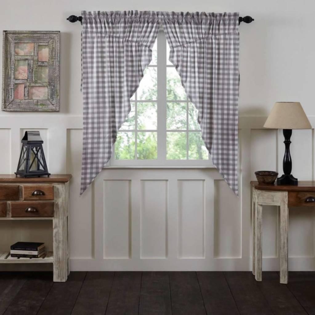 VHC Brands Annie Buffalo Check Lined Prairie Curtain Set of 2