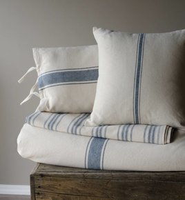 Grain Sack Stripe Pillow Cover Colonial Blue & Cream